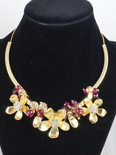 Vera Bradley Goldtone PETALS Pink Multi Beaded Flower Statement  Necklace $68