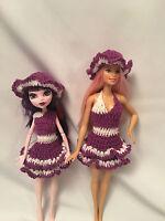 Fits Monster High Doll Ever After Barbie Bratz Clothes Dress Hat Crochet Lot NEW