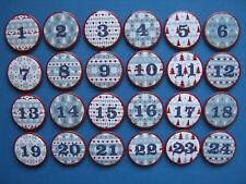 24 Buttons für Adventskalender: Nordische Zahlen, Scandic, ø 4cm, zum Anstecken
