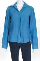 Lafayette 148 New York Womens Linen Button Down Blouse Blue Size 4
