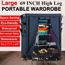 "69"" Portable Closet Storage Organizer Clothes Wardrobe With Shoe Rack Shelves"