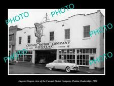 OLD LARGE HISTORIC PHOTO OF EUGENE OREGON THE PONTIAC CAR DEALERSHIP c1950
