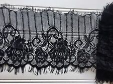 """3 Yards Black Floral Embroidered Eyelash French Mesh Lace Trim/Sewing/ 5.5"""" Wide"""