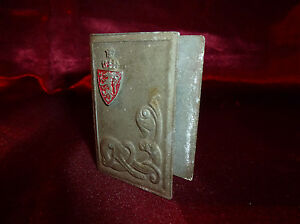 Antique MATCHBOX COVER Art Nouveau Serpent Shield with Dragon & Crown Tobacciana