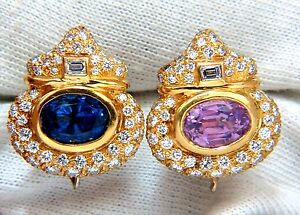 AGL Certified 10.75ct natural pink & blue sapphire diamond earrings 18kt+
