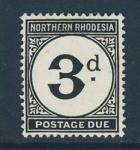 NORTHERN RHODESIA 1952 Postage Due 3d. Black Chalk-Surfaced Paper SG D3a MINT