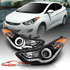 [Led Halo] For 2011 2012 2013 Hyundai Elantra Projector Black Headlights Pair (Fits: Hyundai Elantra)