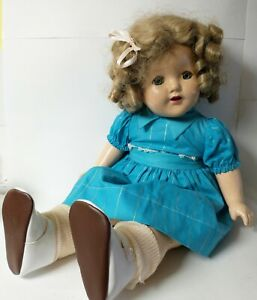 """Antique/Vintage COMPOSITION SHIRLEY TEMPLE DOLL w/ Outfit 19"""" Sleepy Eyes"""