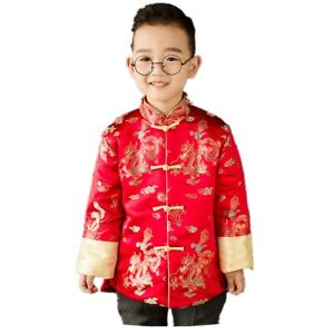 Baby Boy Coat Quilted Tang Suit Boys Jacket Kid Cheongsam Performance Costume