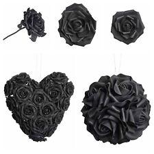 Alchemy Gothic Artificial Foam Oversized Black Rose Flower Hanging Ball Wedding