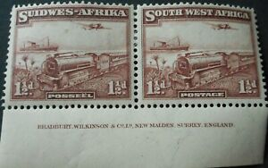 South West Africa 1937 Mail Train One and HalfPence Imprint pair SG 96 mint.