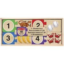 Melissa & Doug Wooden Self-Correcting Number Puzzles, With Storage Box, 40 Piece