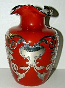 Burnt Orange Cinnamon Thomas Webb Sterling Silver Overlay Vase Perfect!