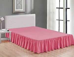 "Bed Skirt Dust Ruffle 14"" Wrap Around Box Spring Bedding Queen Size Pink"