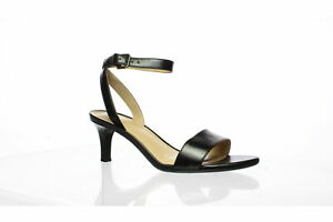 Naturalizer Womens Tinda Black Leather Ankle Strap Heels Size 6 (Wide) (1304061)