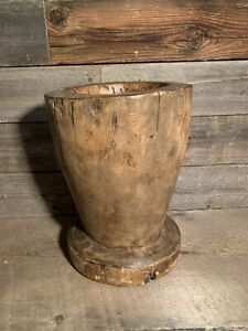 RARE ANTIQUE PRIMITIVE HAND CARVED WOODEN TREEN MORTAR - VERY OLD