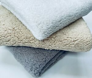 "Sherpa Fleece Fabric Super Soft Stretch Material Home Decor Plush 64"" Wide"