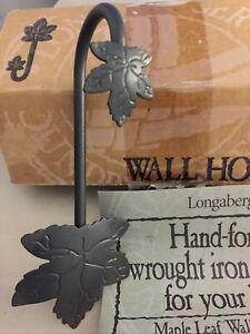 Longaberger Wrought Iron Leaf Wall Hook NIB Foundry