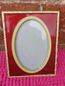 Vintage Gold Coloured Metal & Red Resin Picture Frame