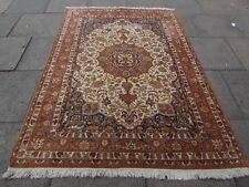 Old Traditional Handmade Indian IndoPersian Oriental Wool Beige Rug 230x165cm