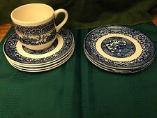 Four Blue Willow Saucers One Cup & Three Bread Plates No Backstamp
