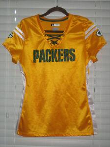Green Bay Packers Woman's Cap Sleeve Jersey, Gold, Medium, NWOT