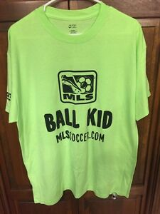MLS Chicago Fire Ball Kid Tee Shirt Neon Green Men XL Soccer Athletico New Rare
