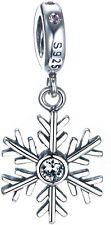SNOWFLAKE WINTER Genuine S925 Sterling Silver Charm Bead Fits European Bracelet