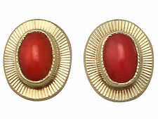 Coral and 18ct Yellow Gold Stud Earrings - Vintage Circa 1990
