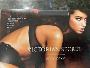 Vintage Victoria's Secret Black Stockings Silky Sheer Nylon Pinup Sz B 15 Denier