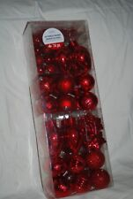 LOT OF 74 RED SHATTERPROOF ORNAMENTS VARIOUS SIZES SHAPES PLUS STRAND OF BEADS