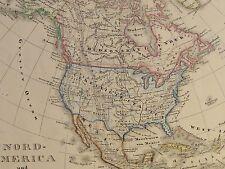 NORD-AMERICA und WEST-INDIEN - antike grenz-kolorierte Landkarte Stahls. um 1850