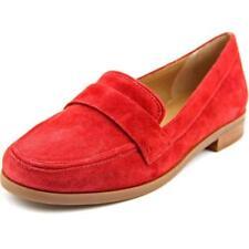 Zapatos planos de mujer mocasines color principal rojo de ante