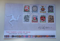 2013 ISLE OF MAN THREE LEGS OF MAN 8 STAMPS FIRST DAY COVER SIGNED ARTIST