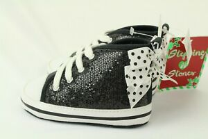 Stepping Stones Girls Toddler Shoes Black Glitter With Bow Size 9-12 Month