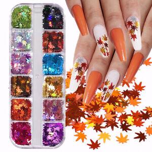 12 Grids Autumn Maple Leaf Nail Art Glitter Sequins Spangle Flakes Sticker Tips