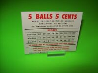Miami Beach Bally 1955 Original Bingo Game Pinball Machine NOS Score Card 5 Ball