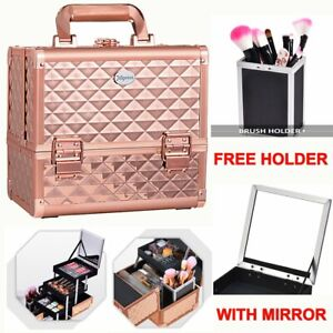 Extra Large Beauty Case Make up Vanity Box Cosmetic Brushed Storage With Mirror