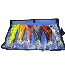 Set of 6 pusher style 9 inch Rigged Marlin Tuna Wahoo Big Game Trolling lures