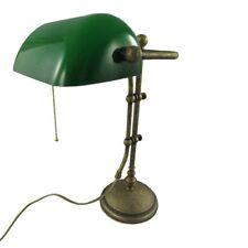 BANKERLAMPE Schreibtischlampe MODELL LONDON Messing brüniert 45cm hoch GRÜN