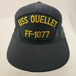 Vintage USS Ouellet FF-1077 Ship Snapback Hat Cap Navy Blue Veterans Made USA