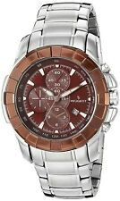 Peugeot Mens 1044BR Quartz Stainless Steel Sports Chronograph Brown Dial Watch