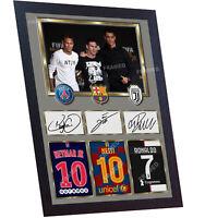 Neymar Messi Cristiano Ronaldo JUVENTUS signed autograph print photo Framed