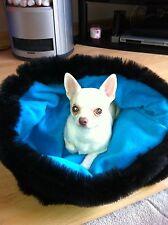 CHIHUAHUA PUG CAT BED BLACK FAUX FUR & BLUE POLAR FLEECE SNUGGLE SACK SAK