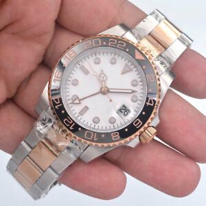 40mm BLIGER White/ Sterile Dial Sapphire Glass GMT Luminous Automatic Mens Watch