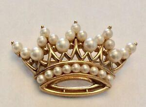 Vintage signed Trifari faux pearl crown brooch