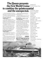 "1981 Cunard QE2 Queen Elizabeth 2 photo ""First World Cruise"" vintage print ad"