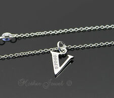 LOVELY STERLING SILVER PLATED INITIAL LETTER V SIMULATED DIAMOND GIRLS NECKLACE