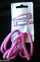 sleepies hair clips or grips set of 2 white with pink heart  and 6 elastics new