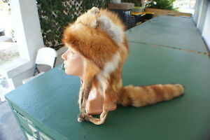 Red fox hat/cap w four feet rendezvous prof. tanned fur/hide/skin hand sewn NICE